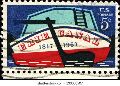 USA - CIRCA 1967: A stamp printed in United States of America shows Stern of Early Canal Boat, Erie Canal Issue, circa 1967