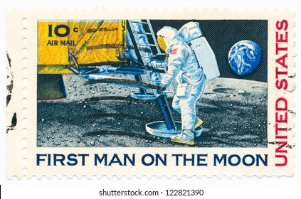 USA - CIRCA 1969: A stamp printed in USA shows Astronaut Neil Armstrong on the Moon, circa 1969