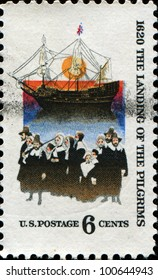 USA - CIRCA 1970 : A stamp printed in the USA honoring The landing of the pilgrims, 1620, circa 1970