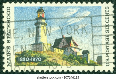 """USA - CIRCA 1970: A Stamp printed in USA shows """"Lighthouse at two Lights"""", by Edward Hopper (1882-1967), Maine Statehood Issue, circa 1970"""