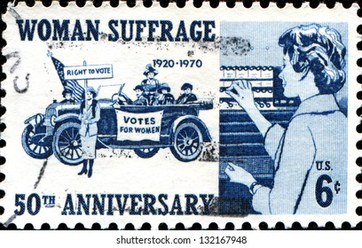 USA - CIRCA 1970: A stamp printed in United States of America commemorating the 50th anniversary of women's suffrage, circa 1970