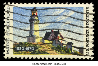 USA - CIRCA 1970: A stamp printed in the USA shows Maine Statehood, circa 1970