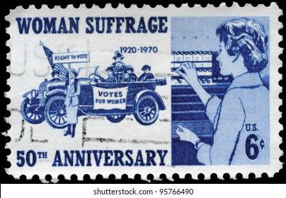 USA - CIRCA 1970: A Stamp printed in USA devoted to 50th anniv. of the 19th Amendment, which gave women the vote, circa 1970