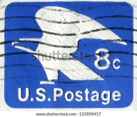 USA CIRCA 1971 Postage Stamp Printed In United States Of America Shows Bald Eagle USPS Emblem Horizontal Scott Catalog U110 8c Bright Ultra Blue