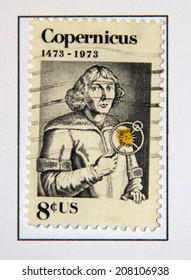 USA - CIRCA 1973: A postage stamp printed in USA, shows Nicolaus Copernicus, Polish astronomer, circa 1973