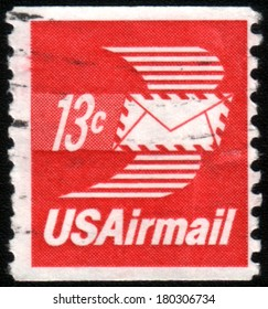USA - CIRCA 1973: A stamp printed in United States of America shows envelope with wings, Airmail, circa 1973