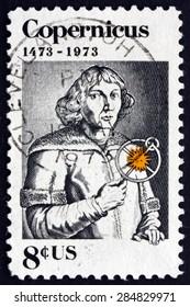 USA - CIRCA 1973: a stamp printed in the USA shows Nicolaus Copernicus, Polish Mathematician and Astronomer, circa 1973