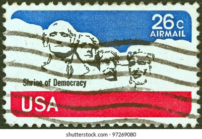 USA - CIRCA 1974: A stamp printed in USA shows Mount Rushmore National Memorial, circa 1974.