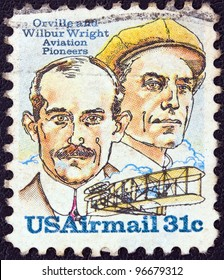 USA - CIRCA 1978: A stamp printed in USA issued for the 75th Anniversary of First Powered Flight shows Wright brothers and Wright Flyer I plane, circa 1978.