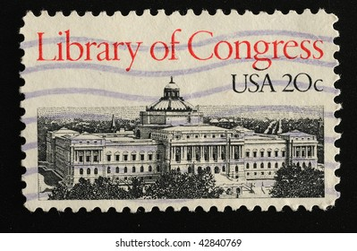 USA - CIRCA 1980. Postage stamp with the Library of Congress, circa 1980
