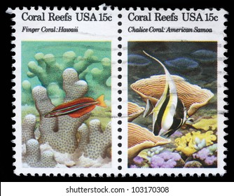 USA - CIRCA 1980 : A stamp printed in the USA shows Coral Reefs, circa 1980