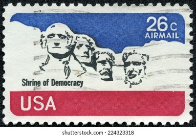 USA - CIRCA 1980's: A post stamp printed in USA shows national memorial. Stone Sculptures of George Washington, Thomas Jefferson, Theodore Roosevelt, and Abraham Lincoln, circa 1980's
