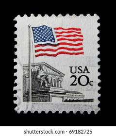 USA - CIRCA 1980s: A post stamp printed in the USA shows Flag Over Supreme Court Issue, circa 1980s
