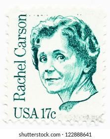 USA - CIRCA 1981: A stamp printed in USA shows portrait of Rachel Carson (1907-1964), biologist, circa 1981