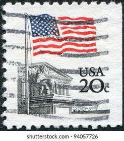 USA - CIRCA 1981: A stamp printed in the USA, shows the state flag and the Supreme Court building, circa 1981