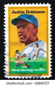 USA - CIRCA 1982. Postage stamp featuring Jackie Robinson, circa 1982