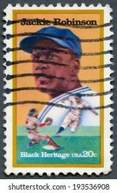 USA - CIRCA 1982: A stamp printed in United States of America shows Jackie Robinson (1919-1972), baseball player, circa 1982