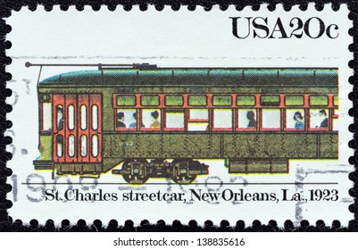 """USA - CIRCA 1983: A stamp printed in USA from the """"Streetcars"""" issue shows St. Charles streetcar, New Orleans, 1923, circa 1983."""