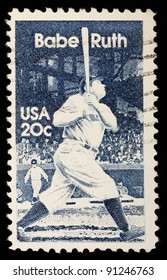 USA - CIRCA 1983:  A stamp printed in USA shows a picture of George Herman Ruth, known as Babe Ruth, swing the bat , circa 1983