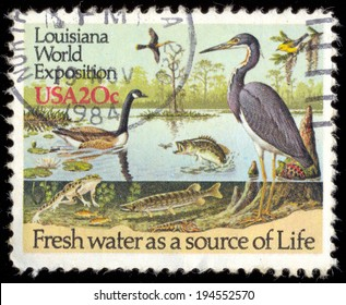 USA - CIRCA 1984: a stamp printed in USA showing an life of water fauna, dedicated to Louisiana World Exposition in New Orleans, circa 1984