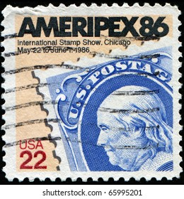 USA - CIRCA 1985: A stamp honoring AMERIPEX '86, the 1986 international Philatelic exhibition hosted by the United States, circa 1985