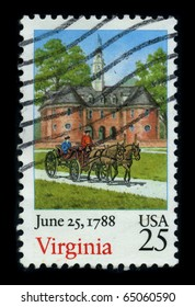 USA - CIRCA 1988: A stamp printed in USA shows image of the dedicated to the Virginia, June 25, 1788 10 th, The 10th of the original 13 colonies, circa 1988.
