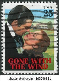 """USA - CIRCA 1990: Postage stamp printed in USA, shows a scene from the movie """"Gone With the Wind"""", circa 1990"""