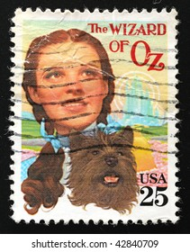 USA - CIRCA 1990. Postage stamp of musical The Wizard of Oz and Judy Garland, circa 1990