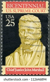USA - CIRCA 1990: A stamp printed in USA shows Chief Justice John Marshall,  Bicentenary of Supreme Court, circa 1990