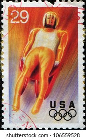 USA - CIRCA 1994: A Stamp printed in USA shows luge, 17th Winter Olympic Games Lillehammer, Norway, series, circa 1994