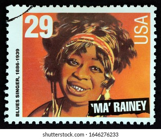 """USA - CIRCA 1994: A stamp printed in USA from the """"American Music Series"""" issue shows Ma Rainey (blues singer), circa 1994."""