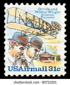 USA - CIRCA 1995: A Stamp published in the USA with image of the brothers Orville and Wilbur Wright - American aviation pioneers, circa 1995