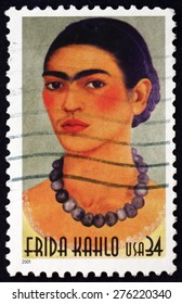 USA - CIRCA 2001: a stamp printed in the USA shows Frida Kahlo, Mexican Painter, circa 2001