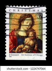 USA - CIRCA 2002: A stamp printed in USA shows Madonna and child by Jan Gossaert, Art institute of Chicago,series christmas, circa 2002