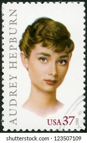 USA - CIRCA 2003: A stamp printed in USA shows Audrey Hepburn (1929-1993), Actress, circa 2003