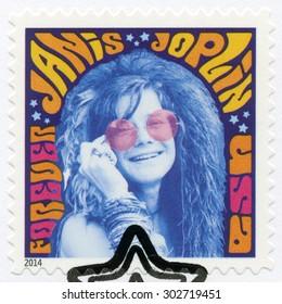 USA - CIRCA 2014: A stamp printed in USA shows Janis Joplin (1943-1970), groundbreaking singer, series Music Icons, circa 2014