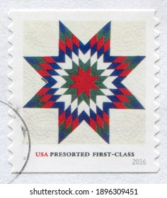 USA - CIRCA 2016: Postage stamp printed in United States of America -  Star Quilts Presorted,  circa 2016