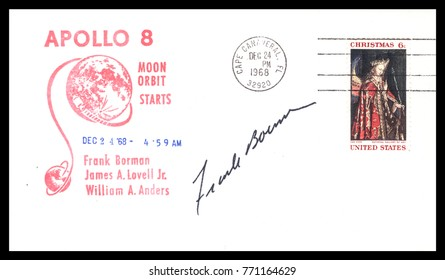 USA - CIRCA December 24th1968 Christmas Eve : Nasa, US postal service first day cover with hand written signature  of Frank Borman,  commemorating: Apollo 8 spaceship  Project.