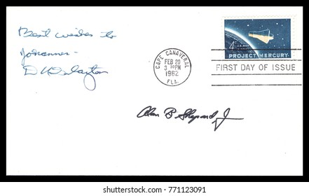 USA - CIRCA FEBRUARY 20th 1962: NASA, US postal service first day cover with hand written signature  of Astronaut Donald Slayton , Alan Shepard commemorating: Mercury Project spaceship.