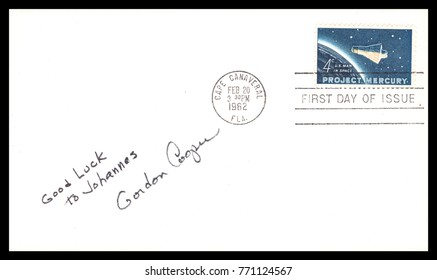 USA - CIRCA FEBRUARY 20th 1962: NASA, US postal service first day cover with hand written signature  of Gordon Cooper commemorating: Mercury Project spaceship.