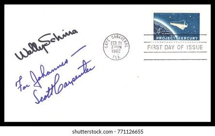 USA - CIRCA FEBRUARY 20th 1962: NASA, US postal service first day cover with hand written signature  of Scott Carpenter, Wally Schirra, commemorating: Mercury Project spaceship.