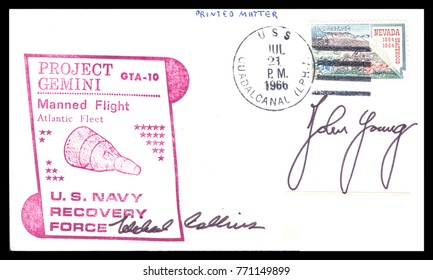 USA - CIRCA July 23rd 1966: Nasa, US postal service first day cover with hand written signature  of John Young, Michael Collins, commemorating: Gemini 10 spaceship  Project.