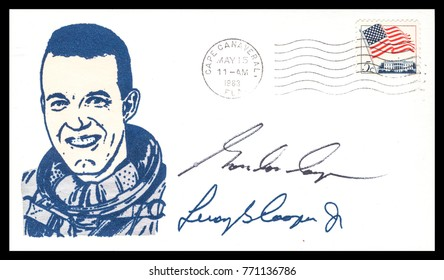USA - CIRCA May 24th 1962: NASA, US postal service first day cover with hand written signature  of Gordon Cooper, commemorating: Mercury Project spaceship.