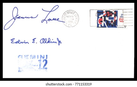USA - CIRCA November 11th1966: Nasa, US postal service first day cover with hand written signature  of Buzz Aldrin, Jim Lovell, commemorating: Gemini 12 spaceship  Project.