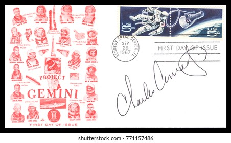 USA - CIRCA September 29th1967: Nasa, US postal service first day cover with hand written signature  of Charles Pete Conrad, commemorating: Gemini 11 spaceship  Project.
