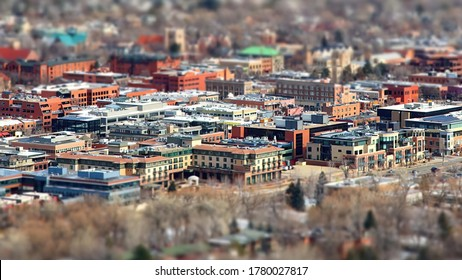 USA, Colorado, Boulder, Cityscape with miniature effect