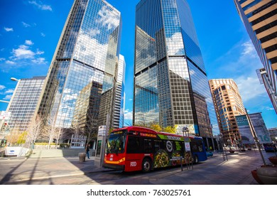 USA. COLORADO. DENVER. NOVEMBER 2017: Downtown Denver, Business center, Promenading famous 16th street.