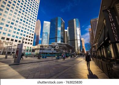 USA. COLORADO. DENVER. NOVEMBER 2017: Downtown Denver, Business center, Promenading famous 16th street.