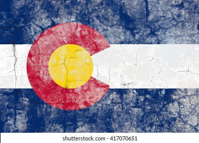 USA and Colorado State Flag painted on grunge wall