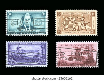 USA Commemorative Stamp Collection 1950 era canceled postage isolated